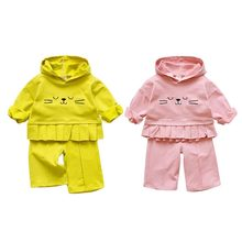 New 18 0-4Y Baby Clothes Set Children Pleated Cat Hooded Suit Girls Casual Cartoon Top+Pants Two-piece Baby Girls Clothing #p(China)