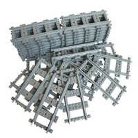 10-100Pcs/Lot City Trains Train Track Rail Straight Rails Building Blocks Bricks Model Kids Toys Gifts Compatible With Legoings