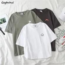 Camisetas femininas manga curta camisetas o-pescoço bordado all-match básico moda tamanho grande 2xl unissex adolescentes lazer macio