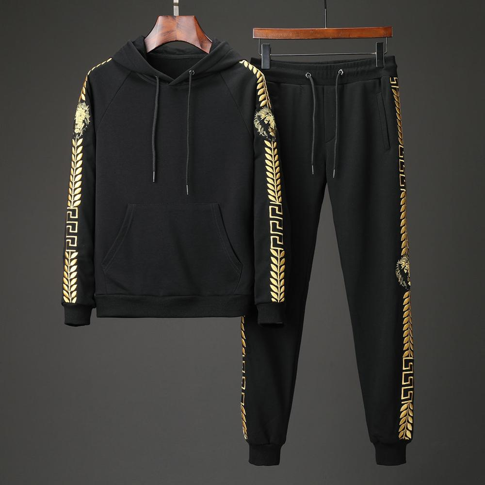 Trendy Brand Men Sportswear Hoodies Suit Lion Embroidery Clothes Full Tracksuits Sweatshirts Mens Track Suits Set Jogger Hombres