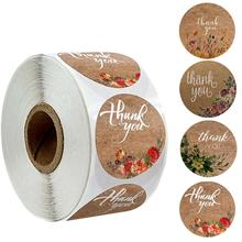 500pcs per roll thank you sticker natural kraft paper printing round wedding party decoration stationery