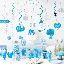 20pcs Winter Wonderland Party Swirls Hanging Decorations Carnival Metallic  Whirls Ceiling Snow flake Birthday Christmas Decor