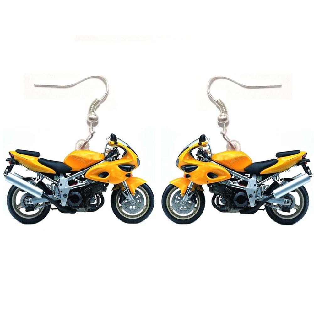 1 Pair Resin Bike Acrylic Dangle Drop Motorcycle Earrings Big Long Punk Jewelry For Girls Women Stainless Steel  Women Earrings