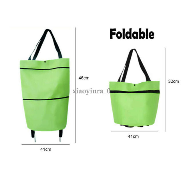 2020 Foldable Shopping Trolley Cart Foldable Reusable Eco Large Waterproof Bag Luggage Wheels Basket Non-Woven Market Bag Pouch 3