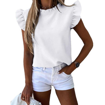 European and American hot sale summer ruffled short sleeve solid color round neck ladies shirt women