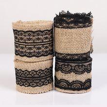 5 смx2м черный рулон джутовой ткани используется для рукоделия