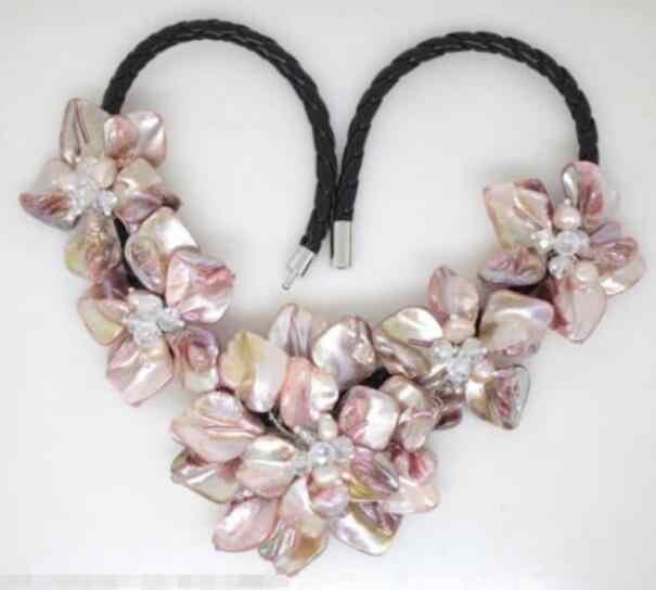 Schmuck Perle Halskette Heißer verkauf neue Stil >>>>> Schöne Rosa perle shell mutter von kristall perle blume anhänger n Freies verschiffen