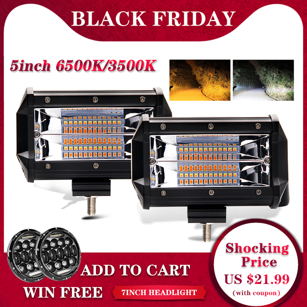 CO LIGHT Strobe 5inch 72W LED Work Light Bar Offroad Led Bar 12V 24V For Truck SUV ATV 4x4 4WD Jeep Led Driving Lamp 3000K 6500K