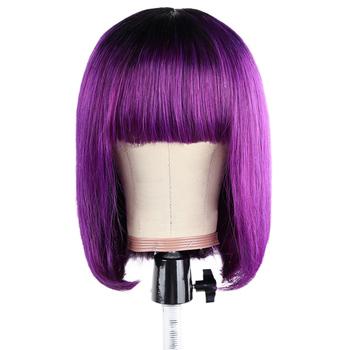 BHF prosto krótki Bob peruka z grzywką 100 Remy brazylijski ludzki włos do przedłużania włosów fryzura Pixie Fringe peruka tanie i dobre opinie CN (pochodzenie) średni rozmiar Włosy remy