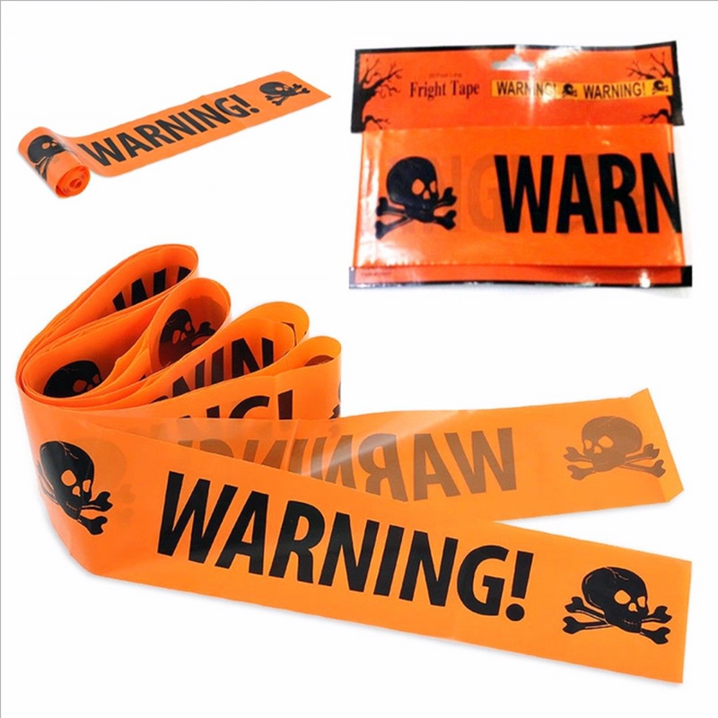 NEW 1PC Halloween Props Window Prop Warning line Plastic Skull Head Warning Tape Signs Halloween Decoration Witch Balloons lot(China)