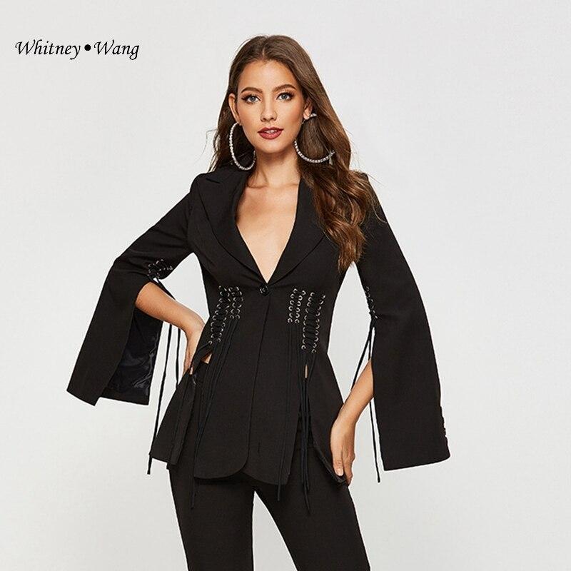Coat Blazers WHITNEY Split-Sleeve Streetwear Women Office Designer-Style Fashion WANG