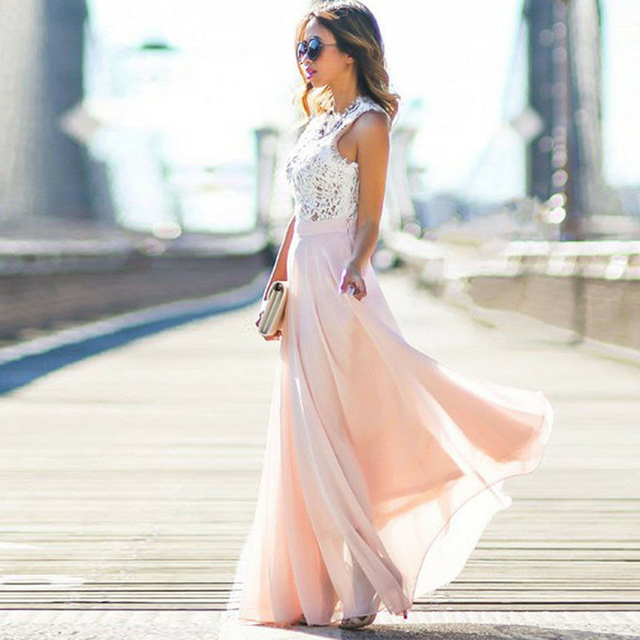2019 Hot Sell Women Sexy Vestidos Party Dresses Nude Pink Beach Summer Boho Maxi Long Hollow Out Patchwork Sundress plus size 4