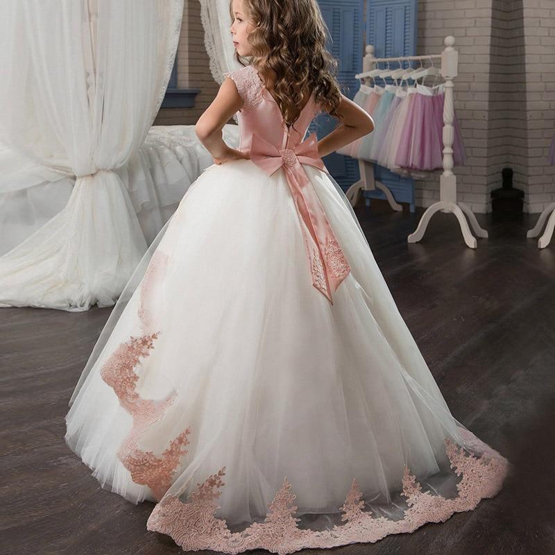Маленькие платья для девочек, держащих букет невесты на свадьбе; платье для торжеств; платье для девочек, расшитое бисером, на день рождения; платье для первого причастия; бальное платье с длинными рукавами и лепестками - Цвет: pink