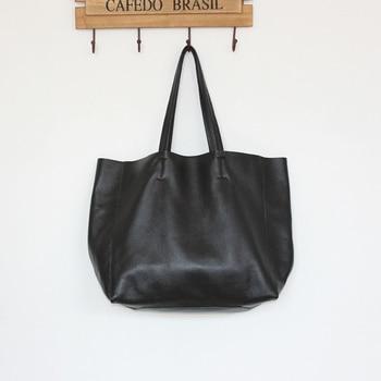 2019 European And American New Star Magazine Same Style Genuine Leather HandBag Casual Shoulder Bag Big Soft Cowskin Tote Bags