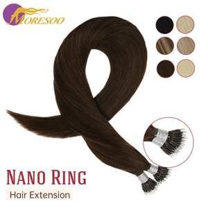 Hair-Extensions Nano-Ring Natural-Hair Human 1g/S 14-24inch-Machine Pre-Bonded Shares