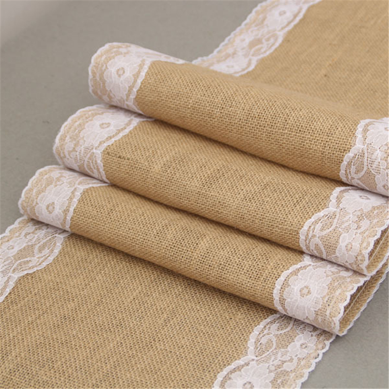 Vintage Retro Natural Burlap Linen Jute Table Gadget Champagne Wedding Dining Room Tablecloth Christmas Restaurant Table Runner