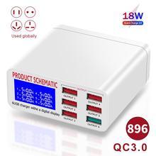 8A QC3 0 ładowarka USB z wyświetlaczem LCD 6 portów pulpit ładowarka do telefonu komórkowego inteligentne szybkie ładowanie dla smartfonów Tablet PC tanie tanio HitTime CN (pochodzenie) 5 porty + Ac Źródło 318835 318836 Qualcomm szybkie ładowanie 3 0 5 V 2A