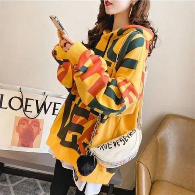 QRWR Korean Women Hoodie Sweatshirts 2020 Winter Casual Fleece Oversized Hoodies Loose Letter Printing Thicken Hoodies for Girls 5
