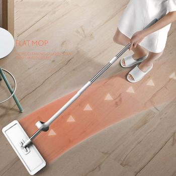 Magic Squeeze Flat Cutting Mop bezprzewodowy do mycia podłóg domowych podłóg kuchennych czyszczenie z mikrofibry wymienna głowica mopa tanie i dobre opinie CN (pochodzenie) Other 10 sekund NONE 40 -50 300 ml System carton flow Rectangle 2 kg STEEL Ekologiczne Zaopatrzony