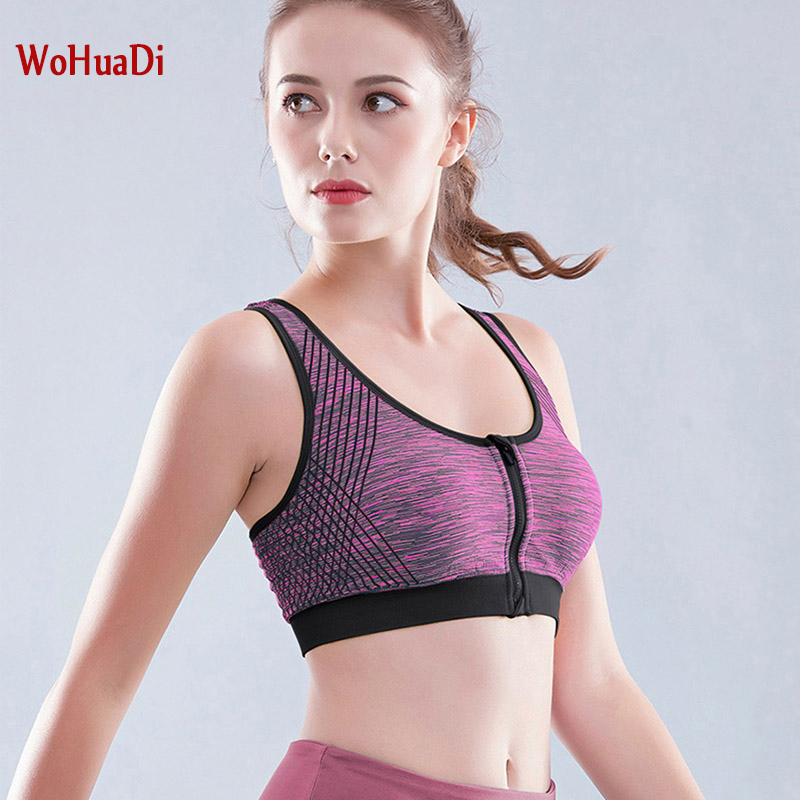 WOHUADI Women's front zipper <font><b>sports</b></font> underwear Gym Cropped Padded Top High Impact Fitness Yoga <font><b>Bra</b></font> Strappy <font><b>Sports</b></font> <font><b>Bra</b></font> M/L/XL/<font><b>XXL</b></font> image