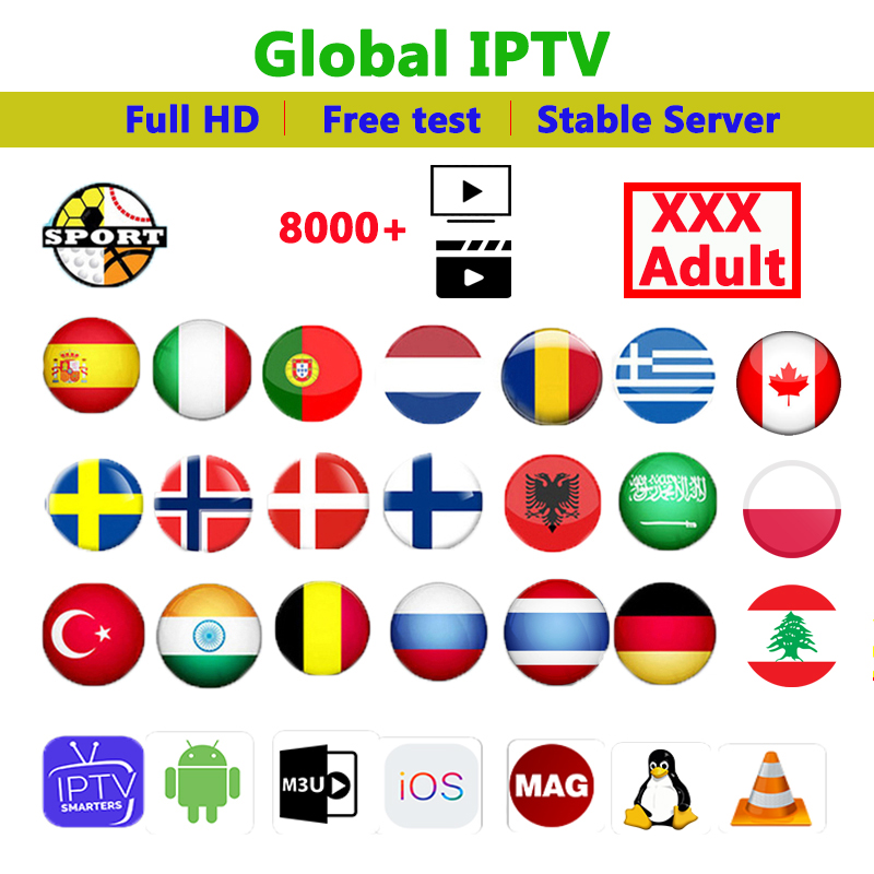 Europe IPTV Subscription Germany Arabic Sweden Poland Greece Belgium Dutch Portugal Spanish IPTV M3u Support Android Box IP TV