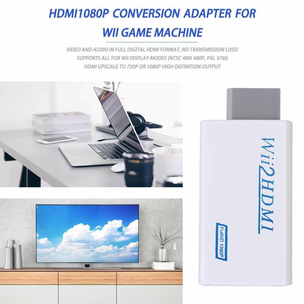 Untuk Wii untuk HDMI Converter Wii2HDMI dengan 3.5 Mm Audio Output Video Otomatis Upscaler Adaptor Dukungan NTSC 480i Sobat 576i 1080P