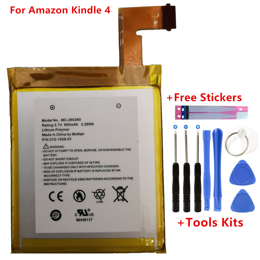 Original 890mAh Battery For Amazon Kindle 4 5 6 <font><b>D01100</b></font> 515-1058-01 MC-265360 S2011-001-S DR-A015 Battery Gift Tools +Stickers image