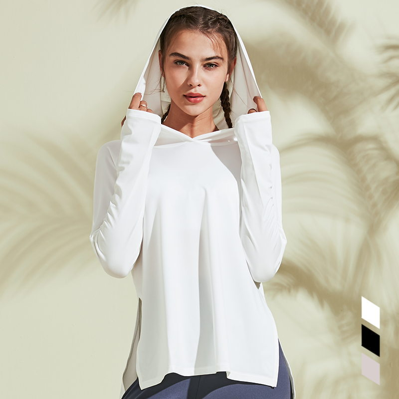 New style Hooded Running T-shirt Loose Fitness Clothing Gym Female Breathable Quick-dry Long Sleeved Yoga shirt Top Women Tees