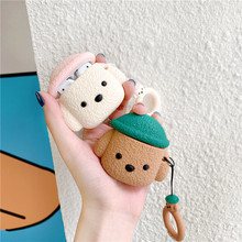 For AirPod 2 Case 3D Lovely Teddy Dog Cartoon Soft Silicone Wireless Earphone Cases Apple Airpods Cute Cover Funda