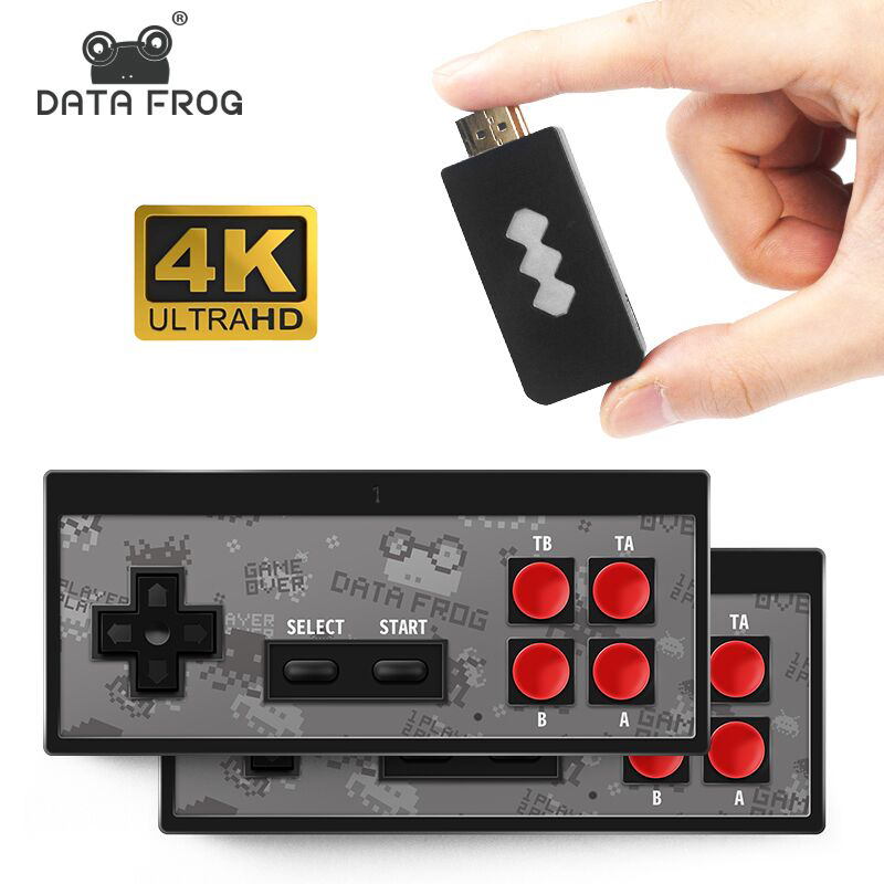 DATA FROG 4K HDMI Video Game Console Built in 568 Classic Games Mini Retro Console Wireless Controller HDMI Output Dual Players