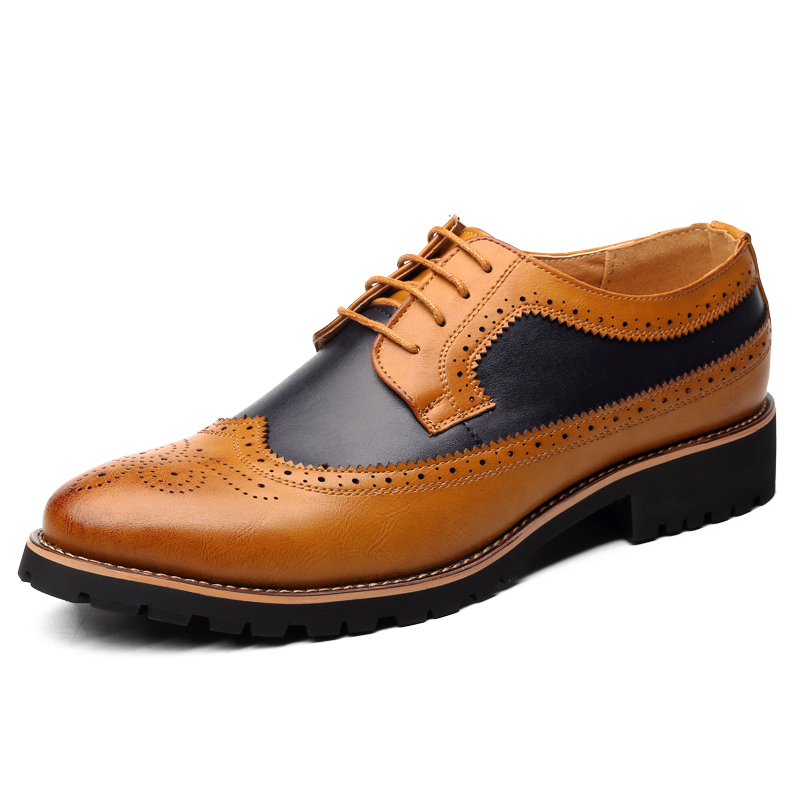 Oxford Shoes Men Brogues Shoes Lace-Up Bullock Business Wedding Dress Shoes Male Formal Shoes