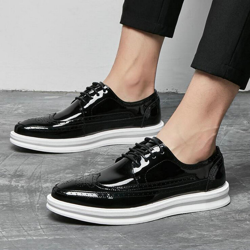 New Fashion Sneakers Men Casual Shoes Leather Black Comfortable Flats Leather Brogue Shoes A52-27
