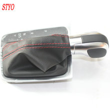 STYO Leather Red Line AT DSG Gear Shift Knob Lever Cover For VW Golf 7 7.5 MK7 Rline 5GG 713 203E