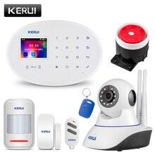 KERUI sistema de alarma de seguridad para el hogar sistema de alarma inalámbrico con WIFI y GSM para el hogar, Control remoto por aplicación, pantalla de 2,4 pulgadas, alarma antirrobo con idioma conmutable