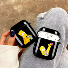 Забавный Барт Лиза Гомер Симпсон черный Airpod чехол для Apple Airpods 1 2 мягкий TPU чехол беспроводной Bluetooth наушники чехол Fundas