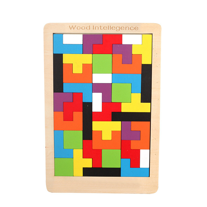 2020 New Hot Sale Wooden Tetris Puzzle Toys Kids Mental Development Educational Toys Children Best Christmas Gifts