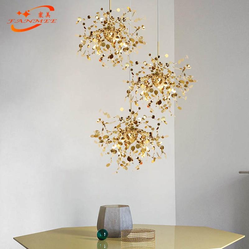 Modern Stainless Steel LED Chandelier Light Art Chandelier Lighting Metal Hanging Lamp