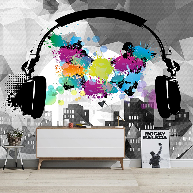 Modern Stylish Music Cool Abstract Headphones Mural Wallpaper Living Room Bedroom Creative Background Wall Decor Fresco Sticker Fabric Textile Wallcoverings Aliexpress
