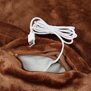 Image 4 - Black Office Car Electric Warming Heating Blanket Pad Shoulder Neck Mobile Heating Shawl USB Soft 5V 4W Winter Soft Heated Warm
