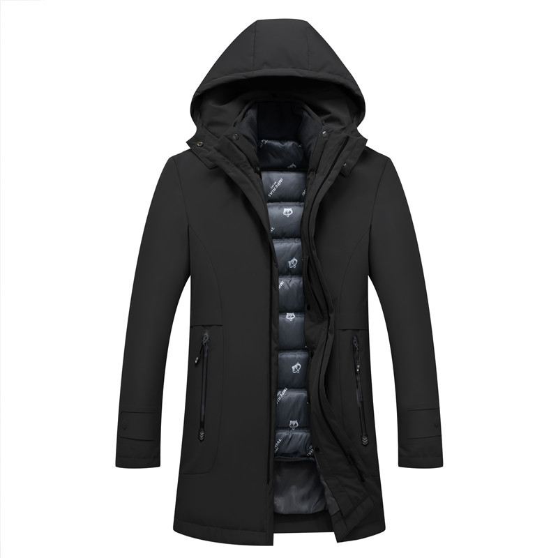 2019 New Long Waterproof Kurtka Zimowa Meska Thick Hooded   Down     Coat   Winter