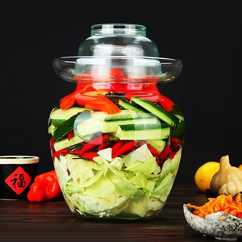 Transparent Pickle Jar Thicken Glass Kimchi Container Cabbage Pickled Jars Food Sealed Storage Pickling Jar Kitchen Accessories