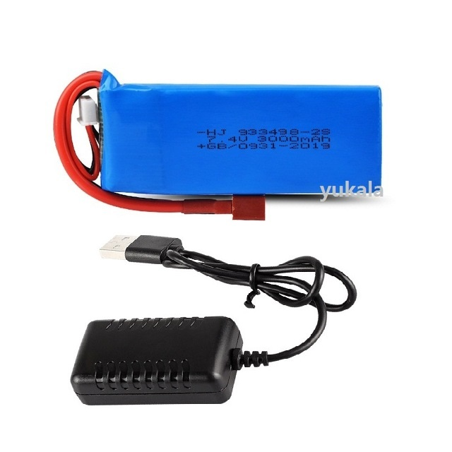 YUKALA WLtoys 144001 RC Car Upgrade Parts 7.4V <font><b>3000mAh</b></font> <font><b>Lipo</b></font> Battery 933498 <font><b>2s</b></font> /USB charger image