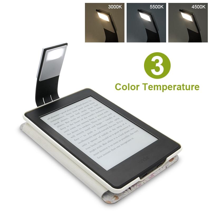 Перезаряжаемый светодиодный светильник для электронной книги Kindle Paper, USB, светодиодный блок питания, лампа для чтения, 4 интенсивности, гибки...
