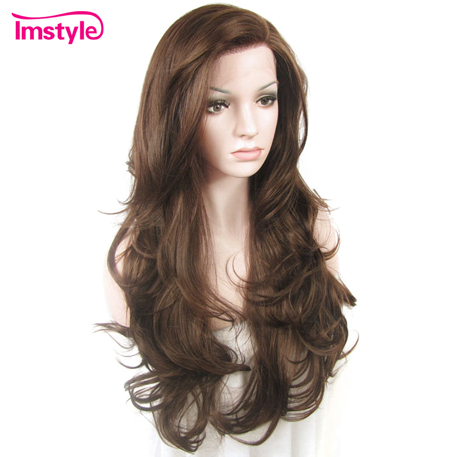 Imstyle Lace Front Wigs Natural Wavy Brown Wigs For Women Heat Resistant Fiber Synthetic Lace Wig Glueless Daily Wig