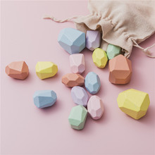 Baby Wooden Toy Colorful Stone Jenga Building Block Creative Nordic Style Educational Toy Rainbow Stone Children Wooden Toy