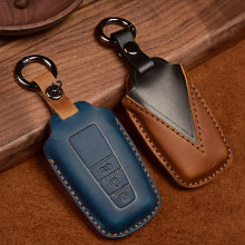 Leather Car Key Case For Toyota Camry CHR Prius Corolla RAV4 Prado 2017 2018 Remote keyless CoverKeychain
