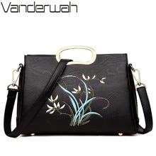 Женская сумка тоут из натуральной кожи, с цветочной вышивкой