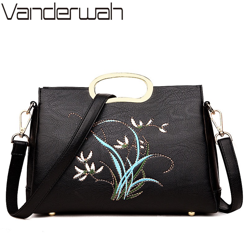 NEW Embroidery Flowers Casual Flap Women Bag Genuine Leather Bags Handbags Women Famous Brands Totes Crossbody Bags Sac A Main