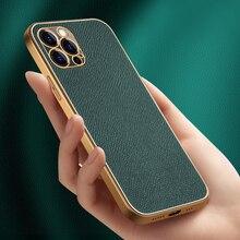 אמיתי עור מקרה עבור iPhone 12 11 פרו מקסימום X XR XS SE2 7 8 בתוספת מקרה עור פרה זהב ציפוי אולטרה דק עמיד הלם חזרה כיסוי