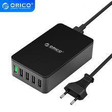 Настольное зарядное устройство ORICO QC2.0 с 5 портами USB, быстрое зарядное устройство 5V2.4A 9V2A 12V1.5A для iPhone, samsung, huawei, планшетов